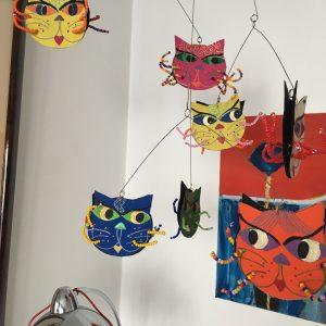 Mobile têtes de chats deux branches