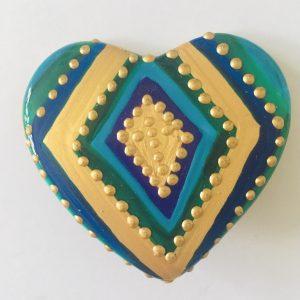 Broche coeur en porcelaine