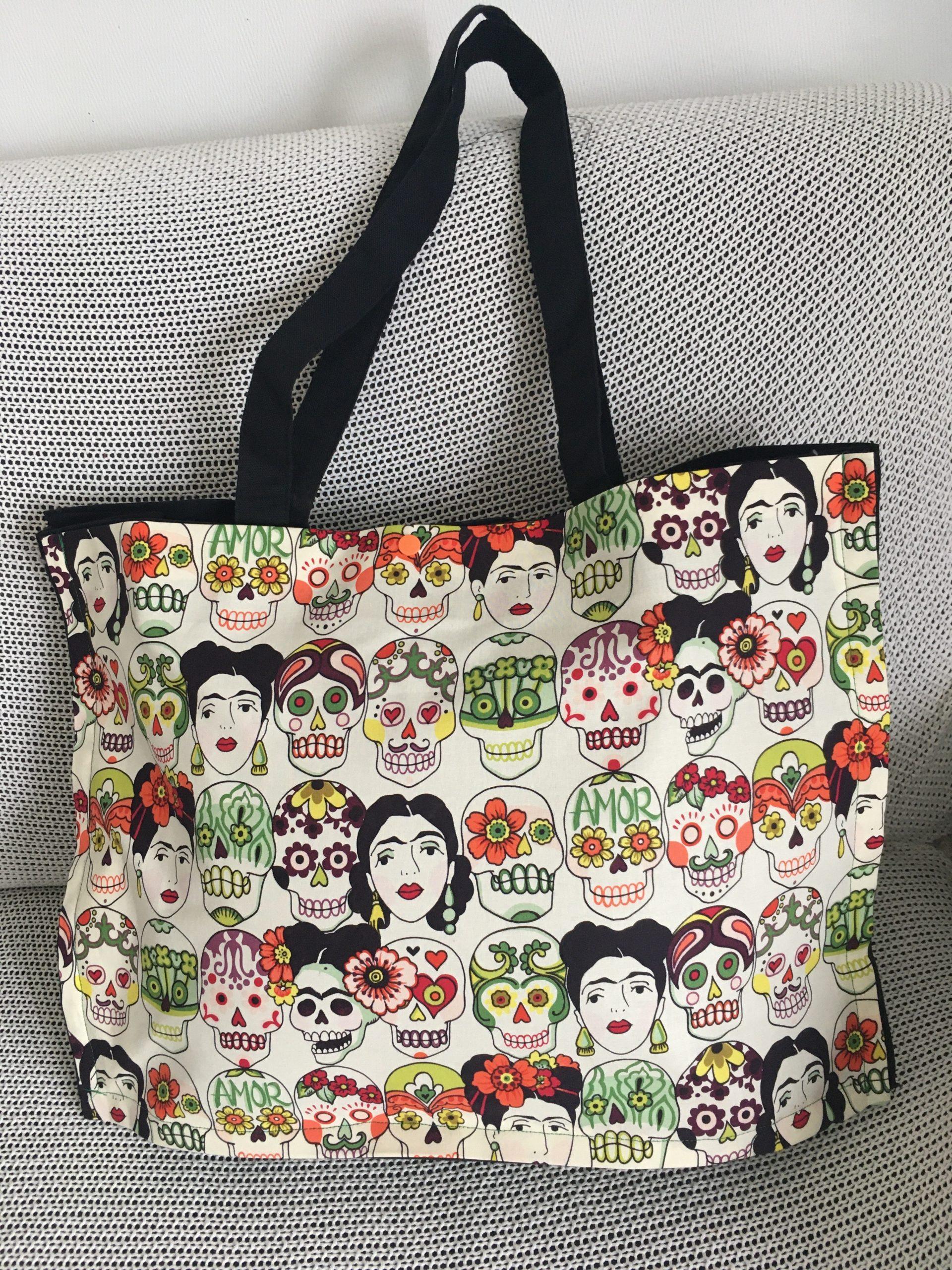 sac tote bag tissus frida kahlo deux poches